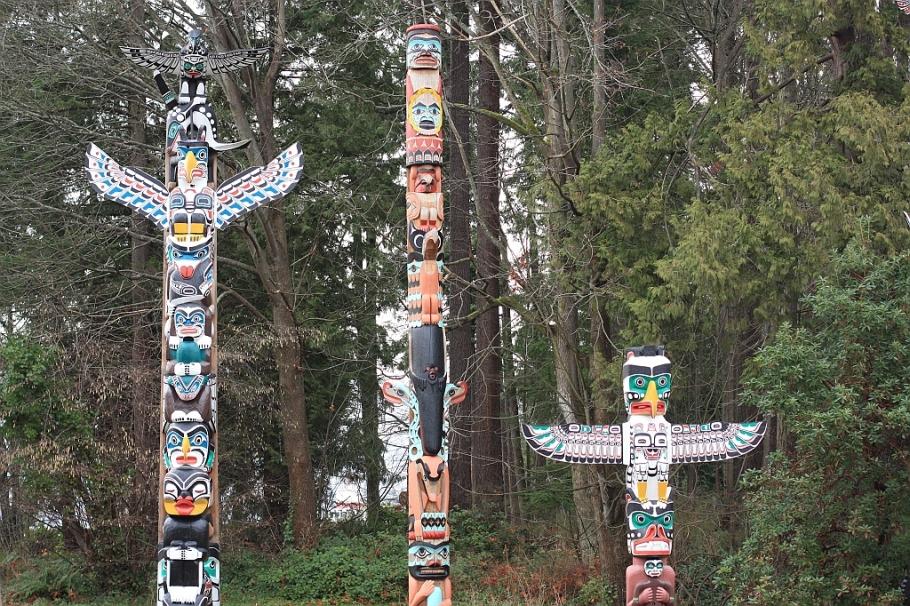 Totem poles, Brockton Point, Stanley Park, Vancouver, Canada
