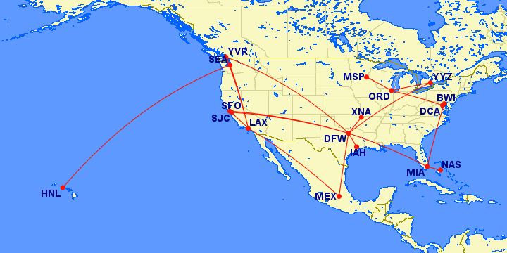 North America flights, AAdvantage, frequent flyer miles