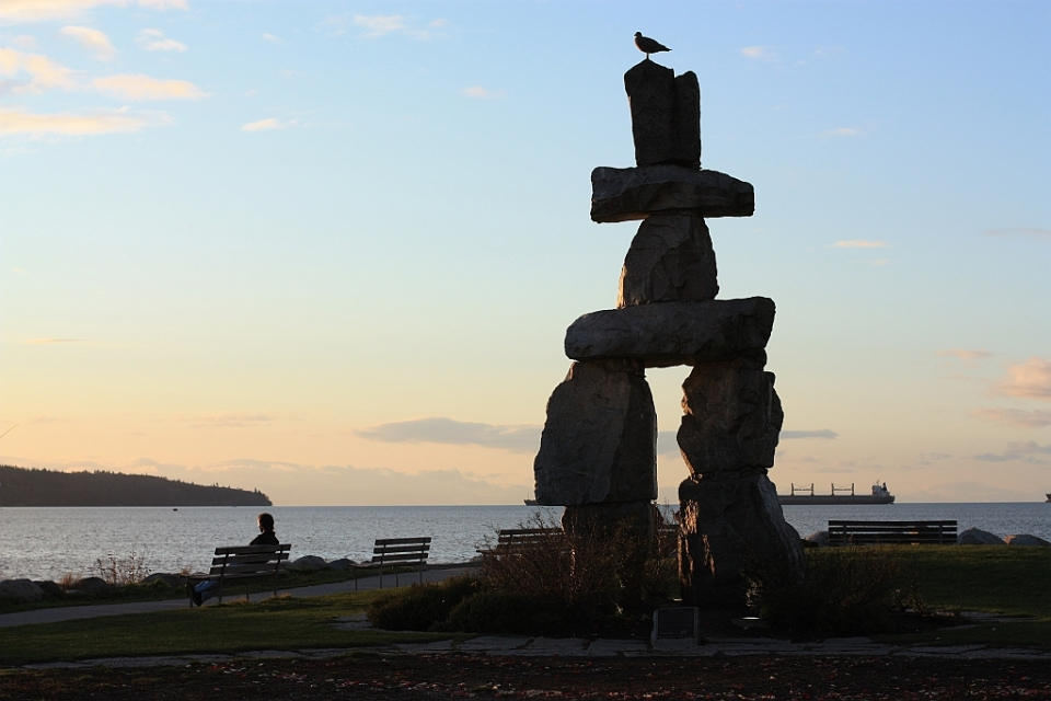 Inukshuk, First Beach, English Bay, ayyulshun, Salish Sea, West End, Vancouver, BC, Canada