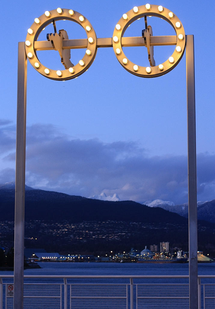 Sculpture by Gathie Falk, installed 1991 at Canada Place, The Lions, Burrard Inlet, Vancouver, BC, Canada