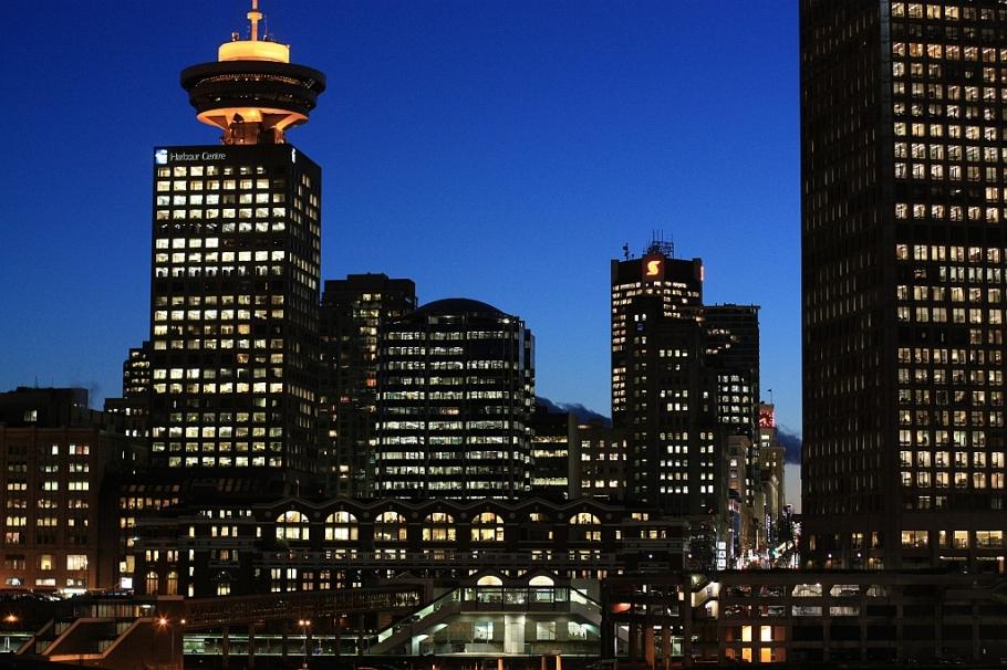 Downtown, dusk, Harbour Centre, Granville St., Vancouver, BC, Canada