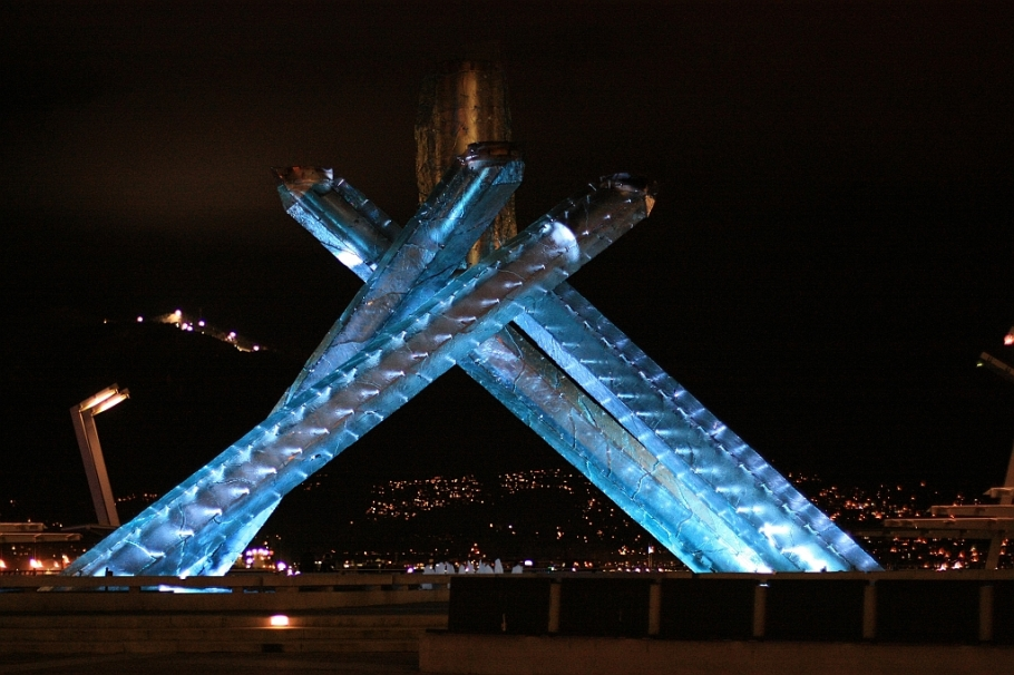 Olympic cauldron, Jack Poole Plaza, 2010 Winter Olympics, Grouse Mountain, Vancouver, BC, Canada