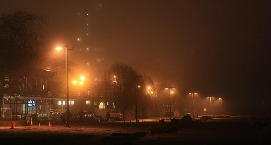 fog, First Beach, English Bay, ayyulshun, Salish Sea, Vancouver, BC, Canada