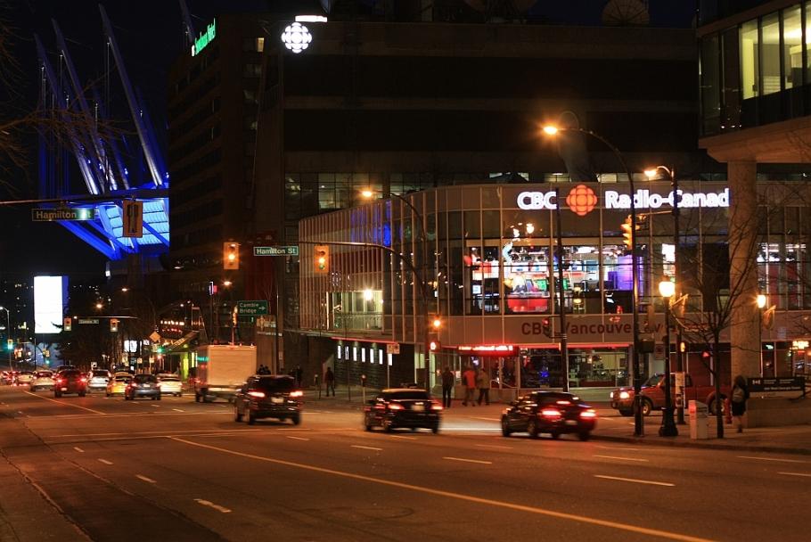 downtown, West Georgia, Hamilton, CBC, SRC, BC Place Stadium, Vancouver, BC, Canada