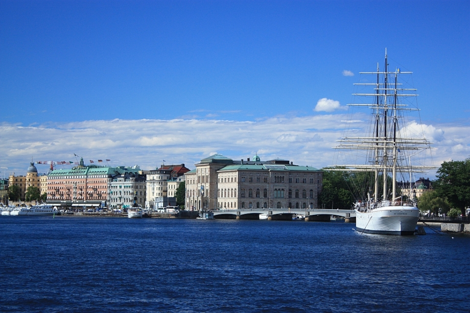 North to Strömkajen (harbour quays), Stockholmsström, Stockholm harbour, Stockholm, Sweden, fotoeins.com