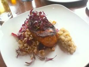 Grilled pork-chop with cabbage, spätzle, apple sauce : Red Stag Supperclub, Minneapolis, MN