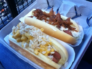 Crab Mac 'n Cheese Dog, Carolina Slaw Dog (pulled pork, cole slaw) : Oriole Park at Camden Yards, Baltimore, MD