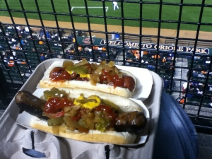 """Welcome to Oriole Park"", with hot dog & bratwurst : Oriole Park at Camden Yards, Baltimore, DC"