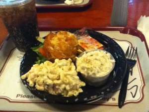 Jumbo lump crab cake, 2 sides, a coke : Faidley's Seafood, Lexington Market, Baltimore, MD