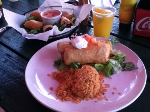 Mexican spring rolls, chicken chimichanga, mango margarita : Mexican night at Green Parrot, Nassau, The Bahamas