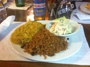 Conch curry with cole slaw, peas & rice; Kalik beer : Nassau Yacht Club, Nassau, The Bahamas
