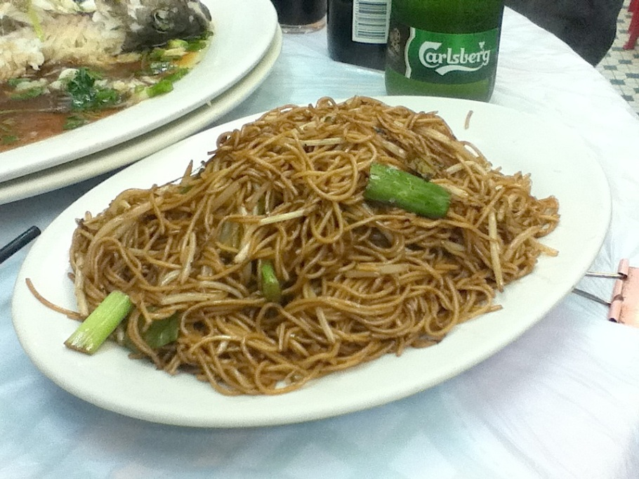 Wok-fried noodles with vegetables : Kam Kau Kee Restaurant, Pak Sha Wan (White Sand Bay), near Sai Kung, Hong Kong - 10 Jun 2012