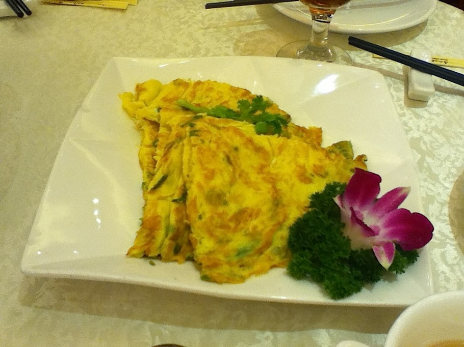 Pan-fried omelette with bitter melon. Great Chinatown Seafood Restaurant, Kwun Tong, Kowloon, Hong Kong - 14 Jun 2012