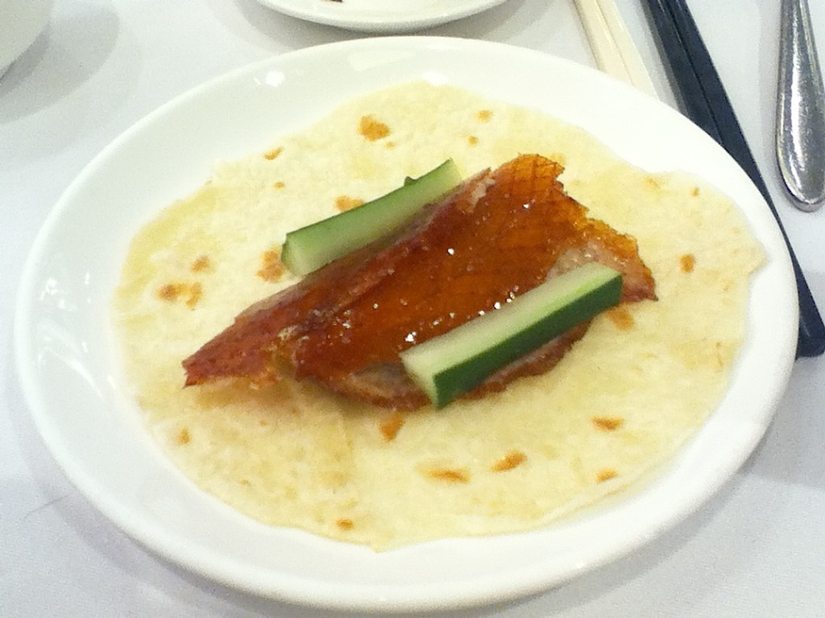 Preparing a Peking duck wrap. The Graces, Lee Theatre Plaza, Causeway Bay, Hong Kong - 16 Jun 2012