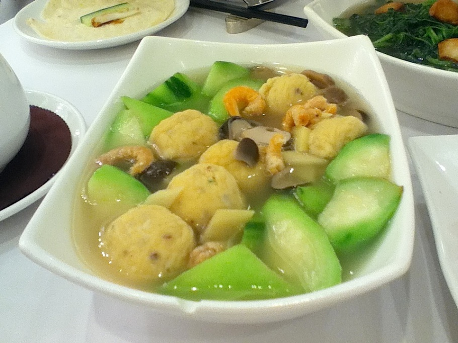 Soup with fish ball, melon, dried shrimp, mushroom, bamboo. The Graces, Lee Theatre Plaza, Causeway Bay, Hong Kong - 16 Jun 2012