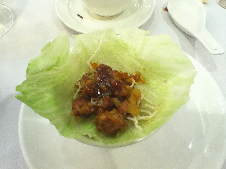 Constructing a lettuce wrap. The Graces, Lee Theatre Plaza, Causeway Bay, Hong Kong - 16 Jun 2012