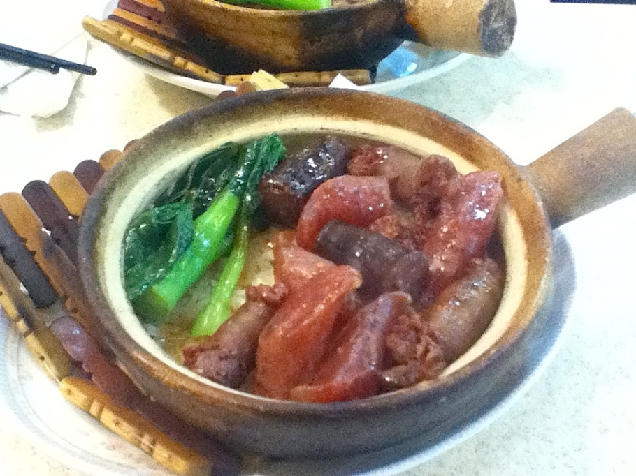 Three-sausage claypot rice. Sun Harmony Restaurant, Wan Chai, Hong Kong - 21 Jun 2012