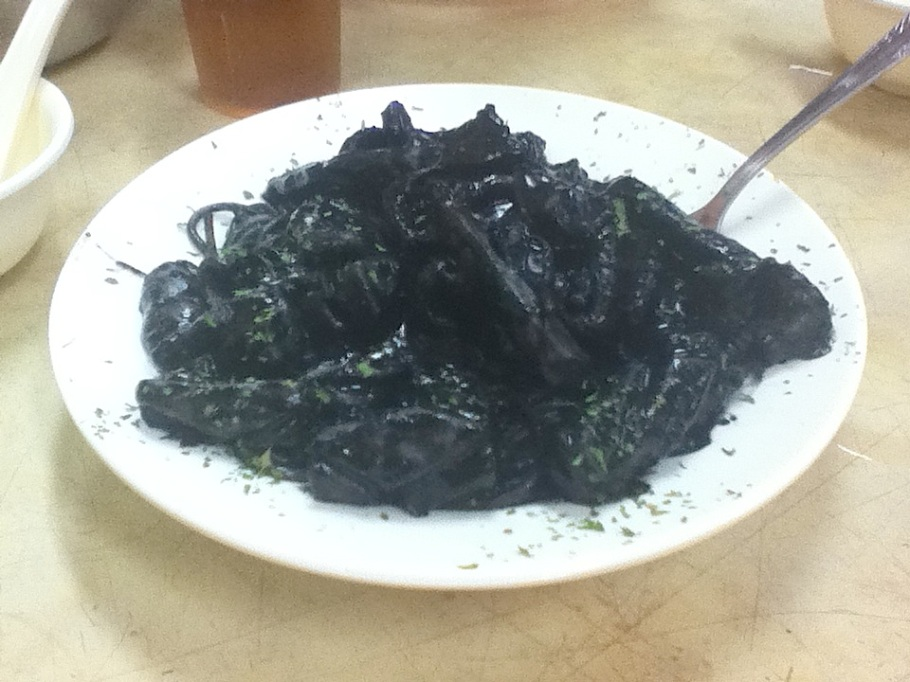 Squid black-ink noodles. Tung Po Kitchen, Java Road Market, North Point, Hong Kong - 22 Jun 2012