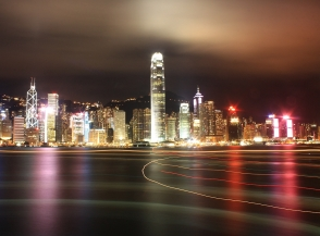 Nighttime view, Central, Sheung Wan, Hong Kong, skyline, Victoria Harbour, Kowloon