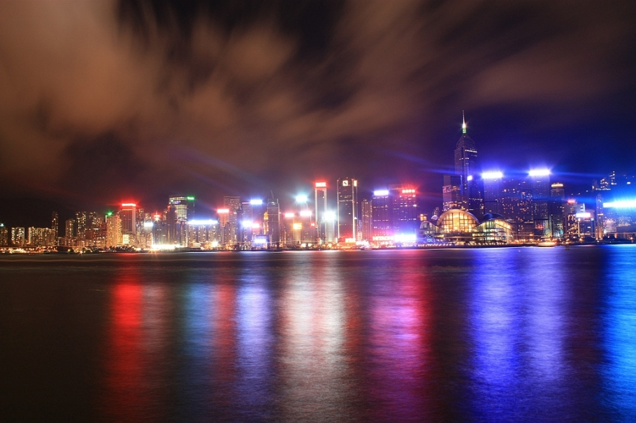 Nighttime view, Wan Chai, Hong Kong, HKCEC skyline, Victoria Harbour, Kowloon