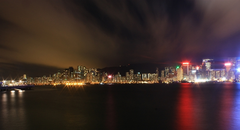 Nighttime view, North Point, Causeway Bay, Wan Chai, Hong Kong, skyline, Victoria Harbour, Kowloon