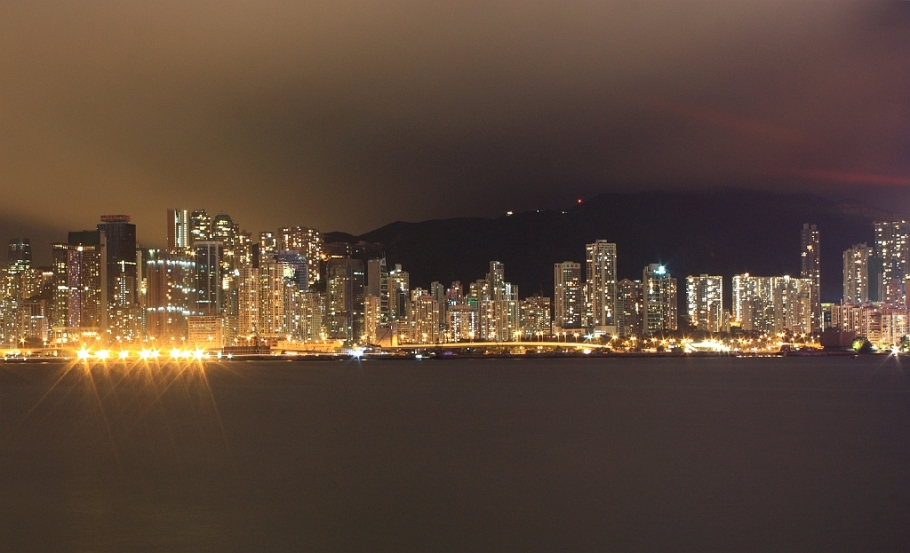 Nighttime view, North Point, Causeway Bay, Hong Kong, skyline, Mount Parker, Victoria Harbour, Kowloon