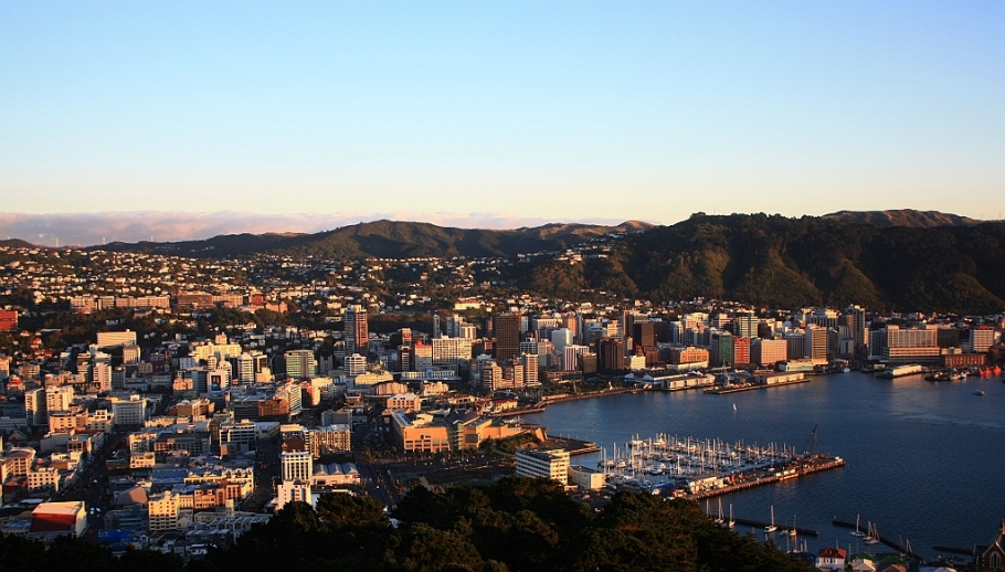 CBD at sunrise, Mount Victoria, Wellington, New Zealand - 12 July 2012