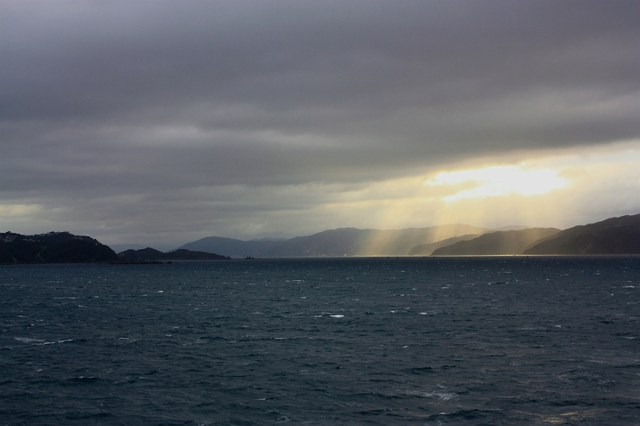 "Shining on Wellington harbour (Port Nicholson), on board ""Kaitaki"" Interislander ferry from Wellington to Picton, New Zealand, fotoeins.com"