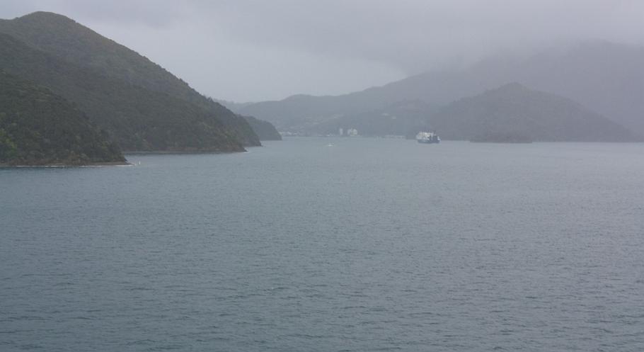 "Entering Picton Harbour, on board ""Kaitaki"" Interislander ferry from Wellington to Picton, New Zealand, fotoeins.com"