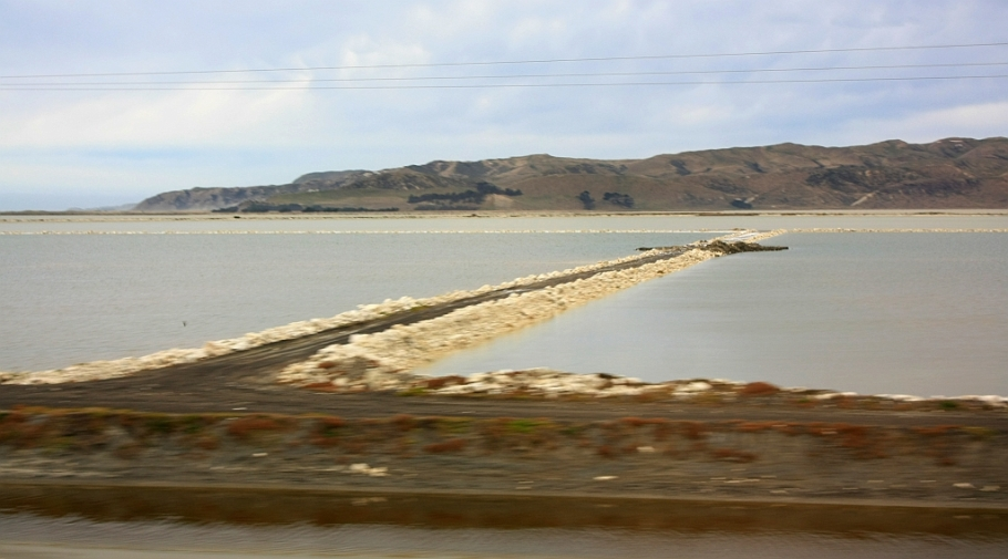 Salt ponds on Lake Grassmere, Marlborough region, on KiwiRail Coastal Pacific train, Picton to Christchurch, South Island, New Zealand, fotoeins.com