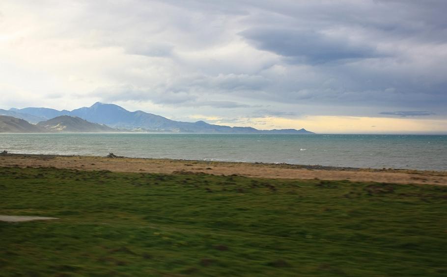 Northeast coastline, South Island, on KiwiRail Coastal Pacific train, Picton to Christchurch, South Island, New Zealand, fotoeins.com