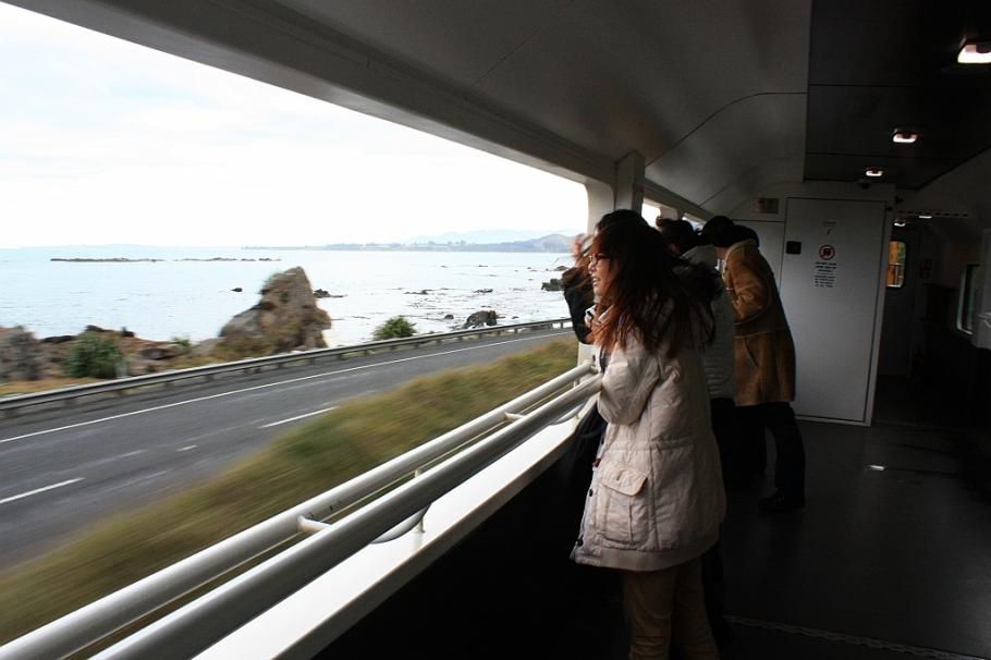 On KiwiRail Coastal Pacific train, Picton to Christchurch, South Island, New Zealand, fotoeins.com