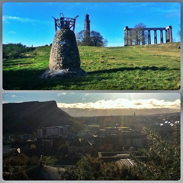 Calton Hill, Edinburgh, Scotland: Parliamentary Cairn, Nelson Monument, National Monument; view south towards Holyrood's Salisbury Crags & late-fall noontime sun.