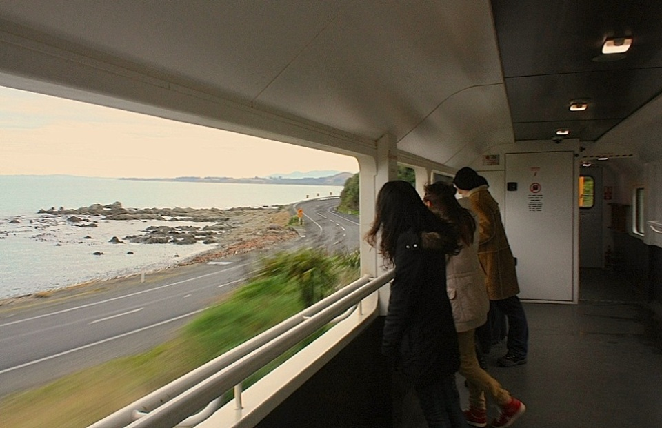 KiwiRail Coastal Pacific train, Picton to Christchurch, New Zealand