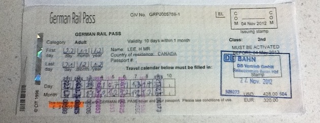 German rail pass, November 2012