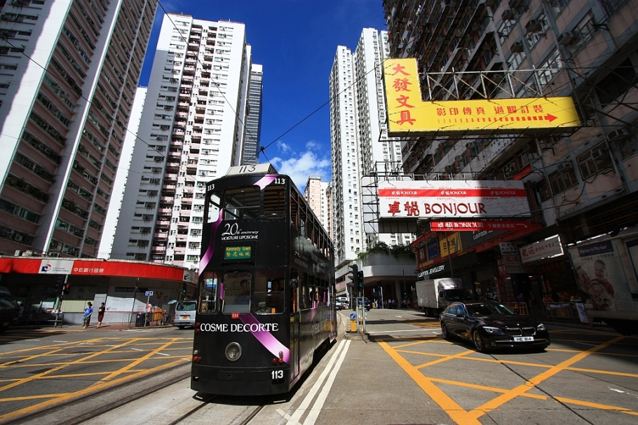 Westbound tram to Kennedy Town, King's Road at Westlands Road, Quarry Bay, Hong Kong