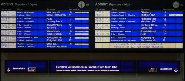 Abfahrtstafel, departures board, Frankfurt am Main Hauptbahnhof