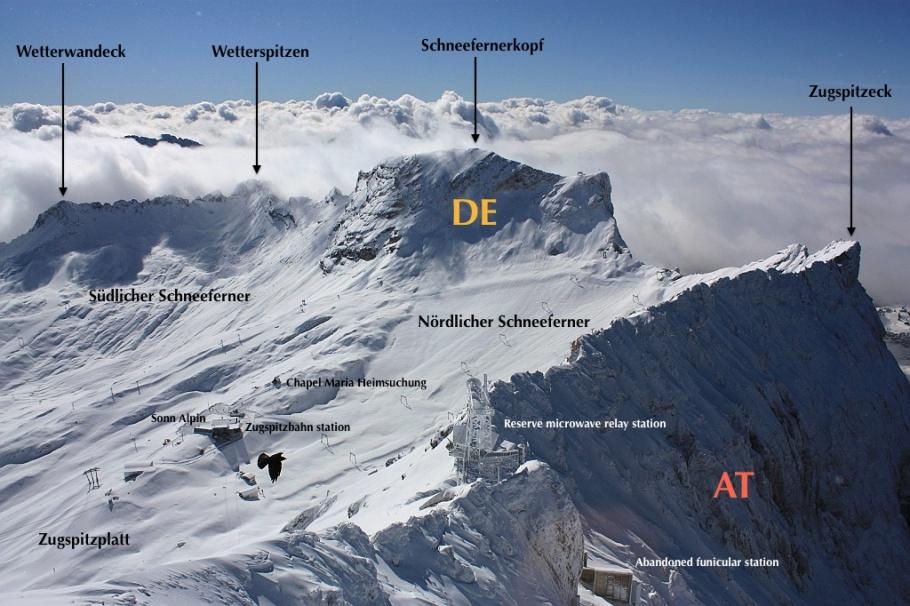 Zugspitze, between Bavaria Germany and Tyrol Austria, Bayern, Tyrol, fotoeins.com