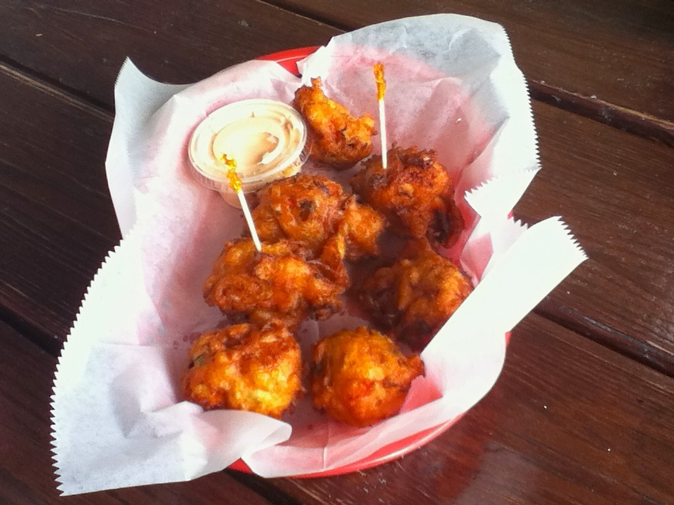 Conch fritters at Twin Brothers, Potters Cay