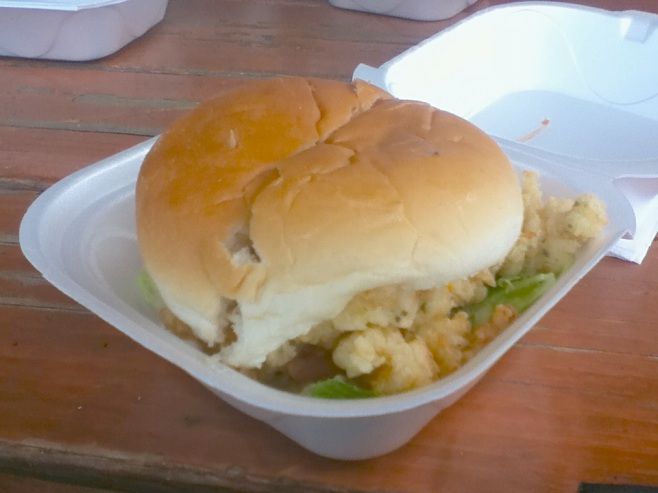 Cracked conch burger, Doc Sands, Potters Cay