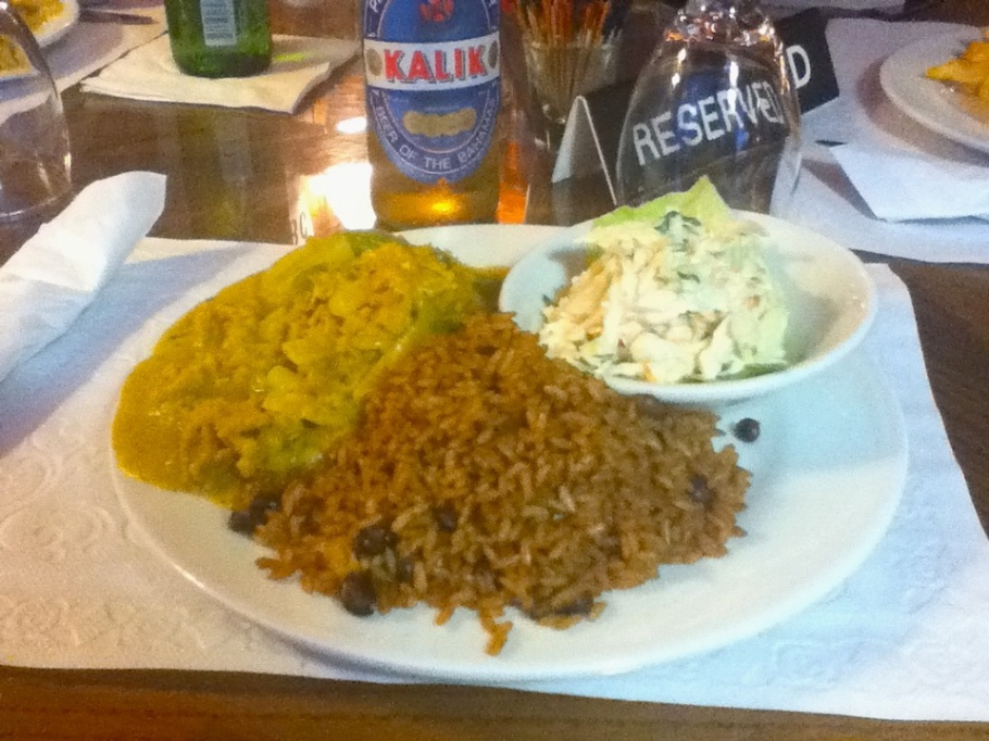 Caribbean conch curry with peas and rice and coleslaw, Nassau Yacht Club