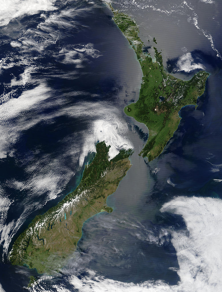 New Zealand, true-colour image from NASA Terra satellite, December 2002.