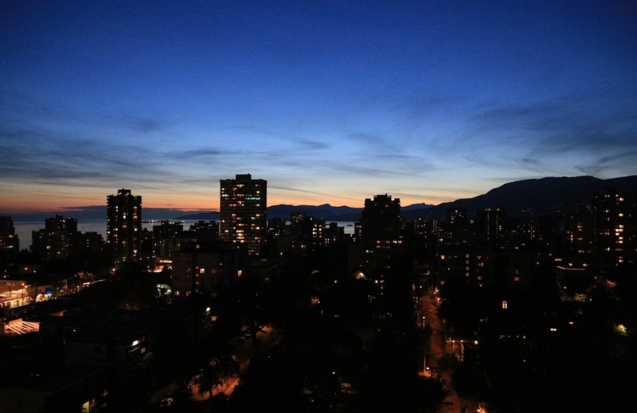 Sunset over the Salish Sea (English Bay), from St. Paul's Hospital, Vancouver, BC, Canada - 8 Aug 2014, fotoeins.com