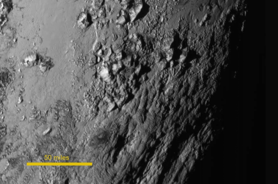 Water-ice mountains near the equator, Pluto, NASA New Horizons, http://pluto.jhuapl.edu/Multimedia/Science-Photos/image.php?page=2&gallery_id=2&image_id=229