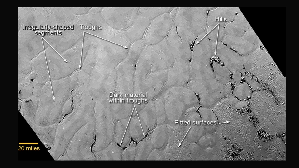 Frozen hydrocarbon plains in the heart, Sptunik Regio, Pluto, NASA New Horizons, http://pluto.jhuapl.edu/Multimedia/Science-Photos/image.php?page=2&gallery_id=2&image_id=240