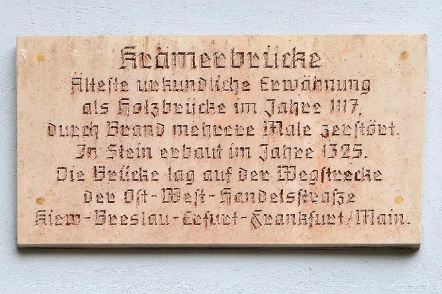 Krämerbrücke sign on Kreuzgasse, ehem. Unter den Juden, Erfurt, Thüringen, Thuringia, Germany, fotoeins.com