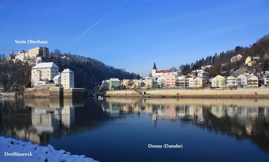 Dreiflüsseeck, Ortspitze, Donau, Danube, Ilz, Inn, Passau, Bayern, Bavaria, Germany, fotoeins.com