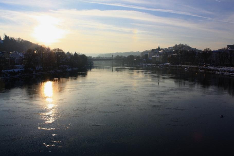 Inn river, Inn, Marienbrücke, Passau, Bayern, Bavaria, Germany, fotoeins.com