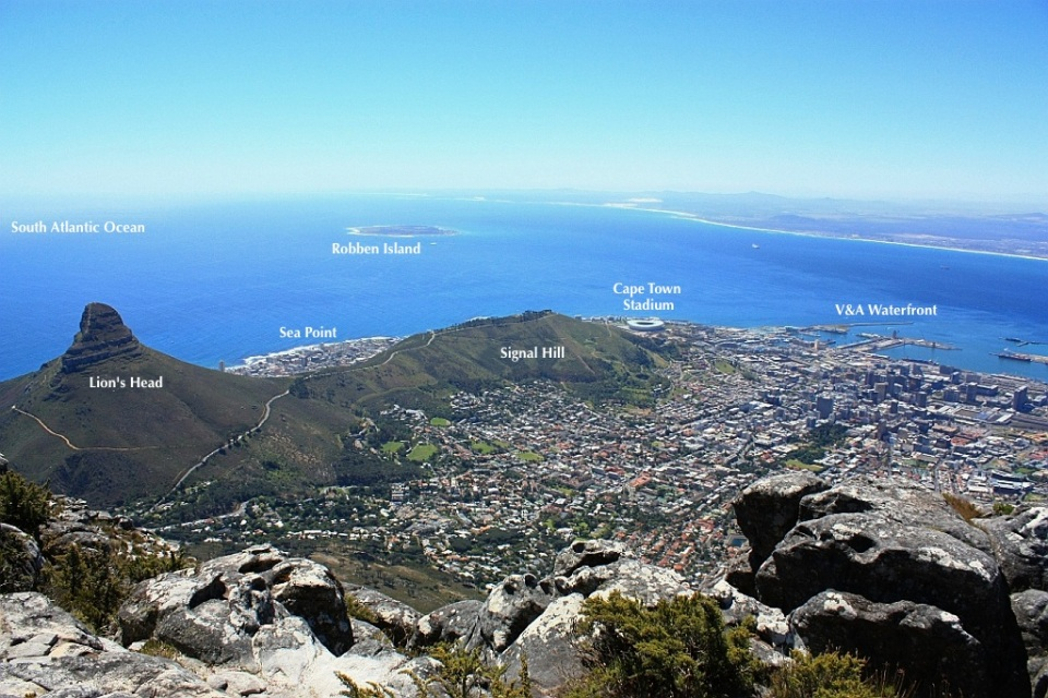 View from Table Mountain, Lion's Head, Robben Island, Cape Town Stadium, Waterfront, Cape Town, South Africa, fotoeins.com