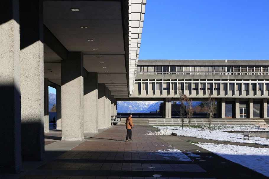Academic Quadrangle, Simon Fraser University, Burnaby Mountain, SFU, New Year's Day 2016, Vancouver, BC, Canada, fotoeins.com